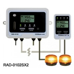 RAD-0102SX2 Remote CO2 Storage Safety Dual Alarm with Strobe Lights
