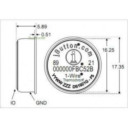 DS1921H Registrador de Datos Económico Thermochron iButton (rango +15 a +46ºC & 2K)