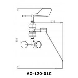AO-120-01C Sensor de Direção do Vento e Velocidade Combinada.