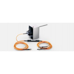 Components of the MICROFIBER-PAM: Fiber optic coupler (orange lines with black elongated central part), four different-colored a