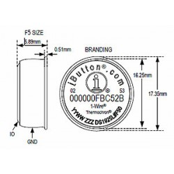 DS1925L High-Capacity iButton Temperature Logger (-40°C to + 85°C and 122KB memory)
