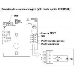 HD 2013UA Opção de saída de contato e saída analógica para pluviômetro HD 2013