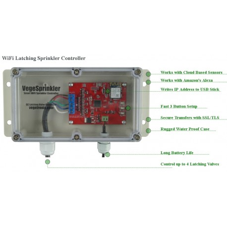 VG-SPRINKLER  VegeSprinkler - WiFi Latching Sprinkler Valve Controller, controls up to 4 valves