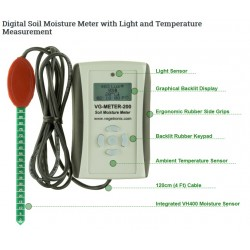 VG-METER-200-USB  Medidor Humedad del Suelo/Lux/Temp Profesional (USB) con sensor VH400 integrado