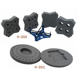 H-302 Juego de adaptadores para tubos de 10-37 mm de diámetro, Botellas y Matraces H-302