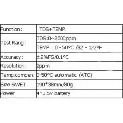 AO-1514H Pluma Medidora TDS (Sólidos Disueltos Totales)