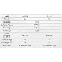 LVA-K11 Autoclave Vertical para Laboratório com Carga Máxima (75 L/ 134 ºC)
