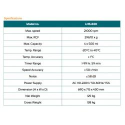 LHS-B20 Centrífuga de Alta Velocidade (21000 rpm)