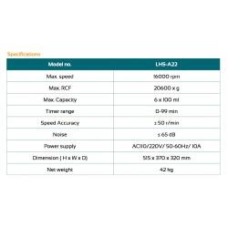 LHS-A22 Centrífuga de Alta Velocidade (16000 rpm)