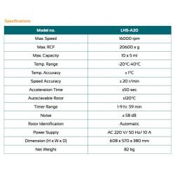 LHS-A20 Centrífuga de Alta Velocidade (16000 rpm) (-20°C a 40°C)