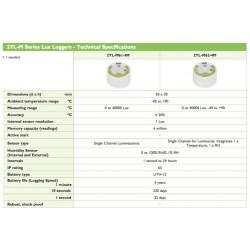 2YL-M62-4M Gravador de Luz (Canal Único para Luminosidade, Integrado 1 x Temperatura, 1 x RH)