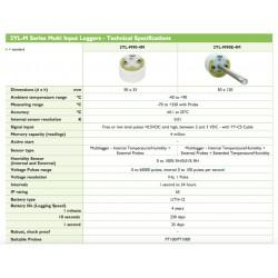 2YL-M90E-4M Múltiplo Gravador de Entrada (Temp. / H. Rel. + Sondas externas + Temp. / HR Built-in)