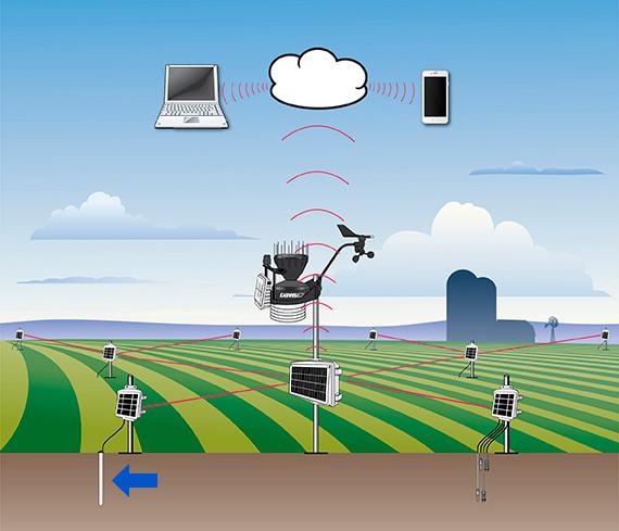 AquaCheck: Las sondas se conectan través de RS-485 o SDI-12 a cualquier datalogger convencional para el almacenamiento y lectura de los datos de humedad y temperatura. Asimismo, son directamente compatibles con el sistema EnviroMonitor de Davis